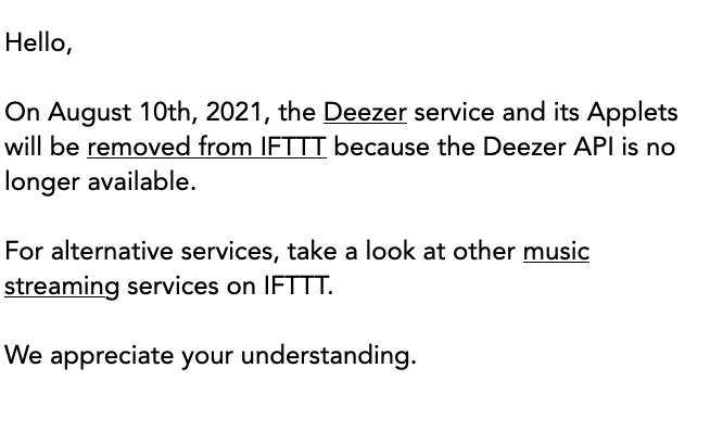 To @deezer @ifttt - I feel like more and more web services are closing up instead of allowing integration with other tools. This is a very sad development.
