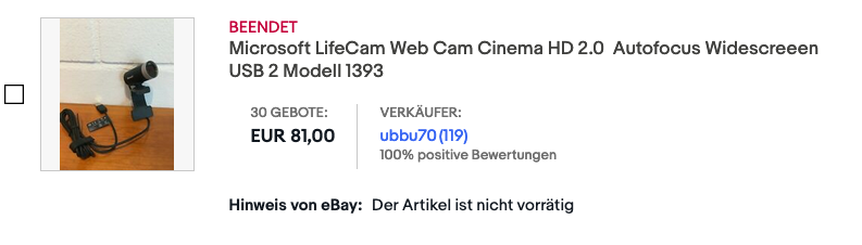 Ebay Auction for a Microsoft Lifecam Cinema