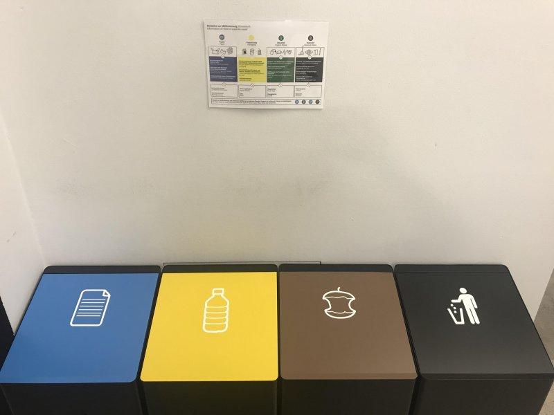 Fancy new metal waste separation bins at work.