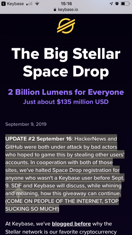 The Big Stellar Spacedrop by Keybase