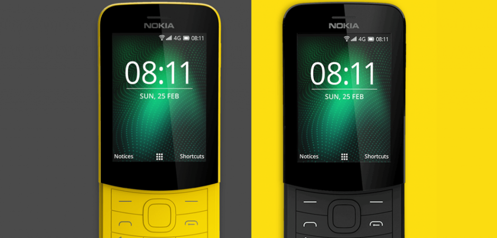 Nokia 8110 4G banana yellow and black side to side