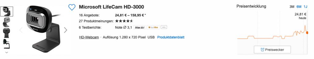 Price range for Microsoft Lifecam 3000