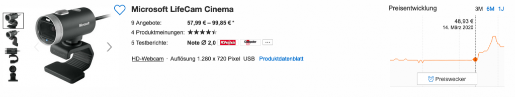 Price range for a Microsoft Lifecam Cinema