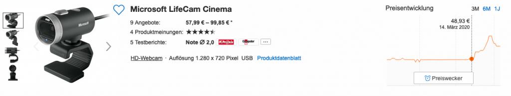 Price range for a Microsoft Lifecam Cinema