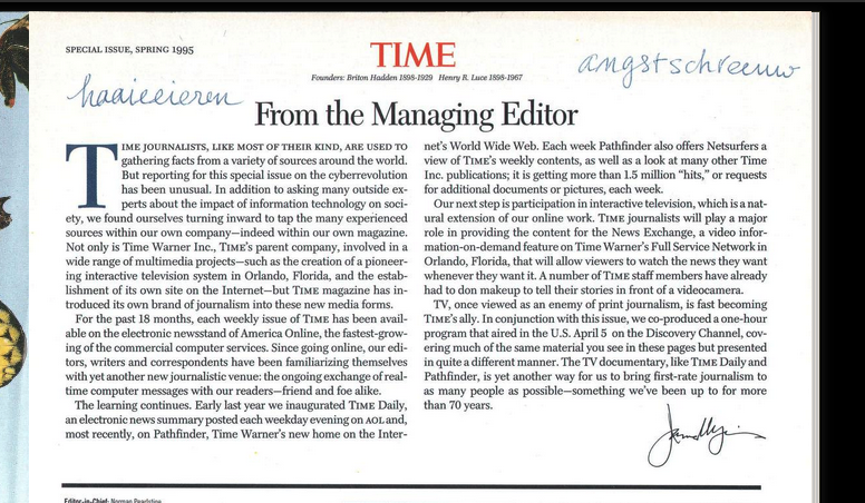 """Why did someone write in Dutch """"haaieeieren"""" en """"angstschreeuw"""" in the digitalized copy of Time Magazine of the special issue of Spring 1995?"""